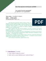 موضوع تجريبي في اللغة الفرنسية للتحضير لشهادة التعليم المتوسط 4