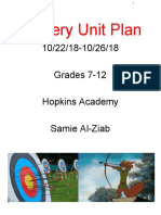 archery unit plan - grades 9-12