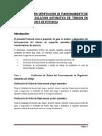 Protocolo Verificacion Funcionamiento Sistemas de Regulacion Automatica de Tension
