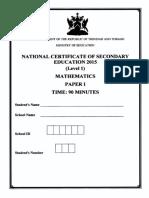NCSE 2015 Mathematics 1