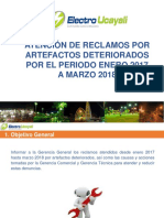 Atención de Reclamos Por Artefactos Deteriorados Por El Periodo Enero 2017 a Marzo 2018