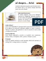 Ariciul - Fise Diferențiate de Evaluare a Competentei de Lectura
