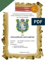 EVOLUCION DE LOS PLANETAS