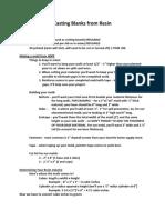 Casting Pen Blanks From Resin - Info Sheet