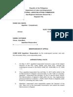 Memorandum of Appeal