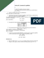 Práctica 02. Constante de Equilibrio. Previo. Equilibrio y Cinética