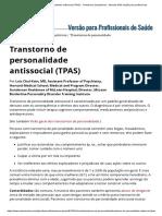 Transtorno de Personalidade Antissocial (TPAS) - Transtornos Psiquiátricos - Manuais MSD Edição Para Profissionais