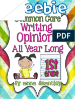 Common Core Writing Opinions All Year Long SAMPLE
