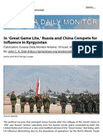 J. DALY_ in Great Game Lite, Russia and China Compete for Influence in Kyrgyzstan