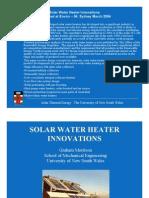 Solar Water Heater Innovations