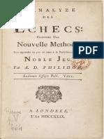 L'Analyze Des Echecs. Par A. D. Philidor.