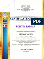 Certificate Best Presenter