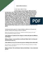Salem Witch Evidence and Summary