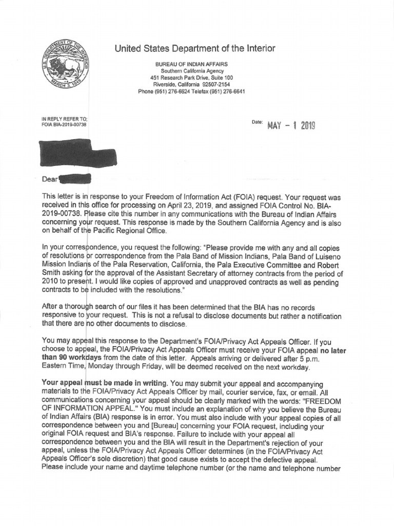 BIA FOIA Request for Approved Attorney Contracts