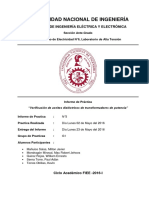 VERIFICACIÓN DEL AISLAMIENTO A (2xUn y 2xfn) Y PARÁMETROS DE TRANSFORMADORES DE MT