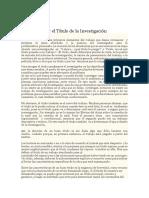 Elaboracion Del Titulo de La Investigacion