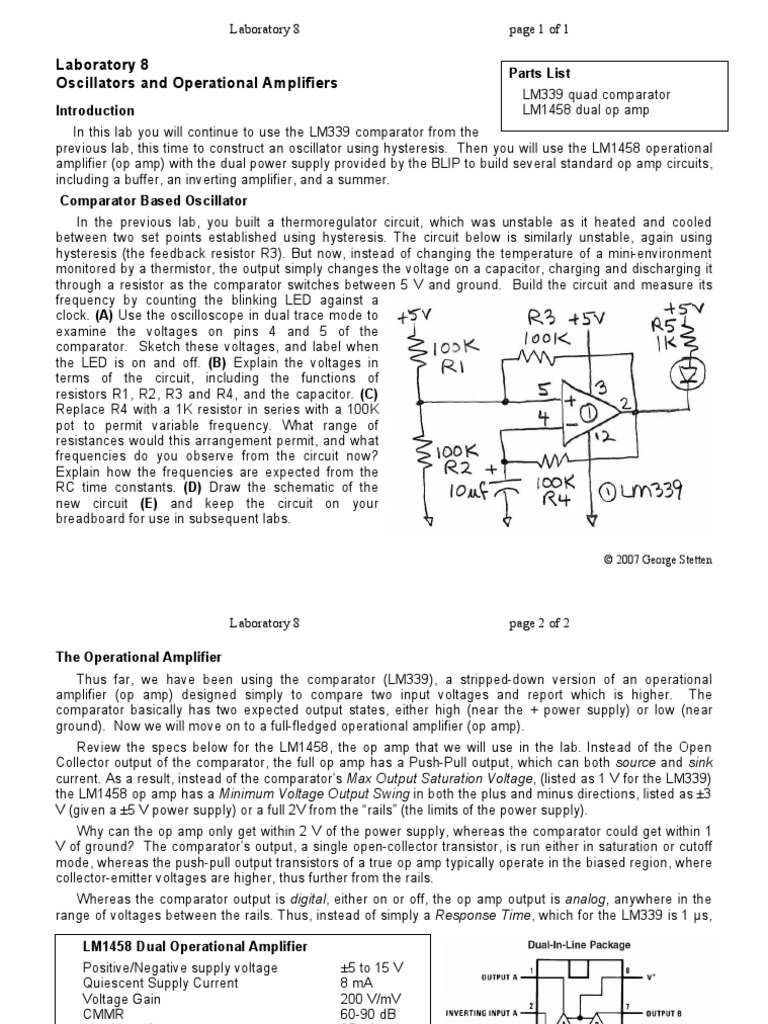 Lab 08 Operational Amplifier Negative To Positive Voltage Supply With Lm741