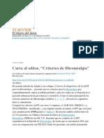 "Carta Al Editor, ""Criterios de Fibromialgia"