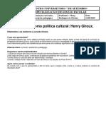 Organização Curricular, Planejamento e Projeto Pedagógico. O currículo como política cultural- Henry Giroux.