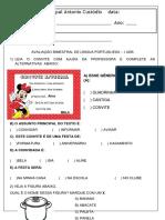 Avaliação 2º Ano L.portuguesa I UDB