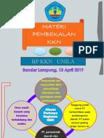 Materi Pembekalan KKN, 13 April 2019
