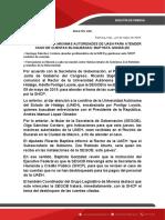 SEGOB RECIBIRÁ A MÁXIMAS AUTORIDADES DE UAEH PARA ATENDER CASO DE CUENTAS BLOQUEADAS