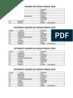 Leituras e Salmos Da Vivilia Pascal 2019
