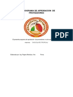 Programa de Aprobación de Proveedores
