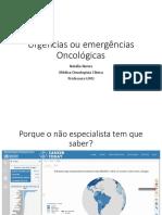 Urgências ou emergências Oncológicas 2016