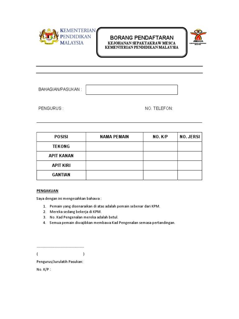 Borang Pendaftaran Kejohanan Sepaktakraw Mesca Kementerian