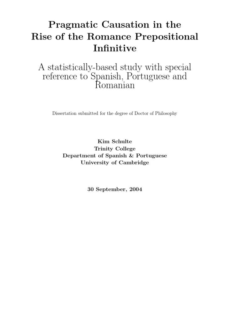 Teza doctorala despre infinitiv in limbile romanice   Linguistics ...
