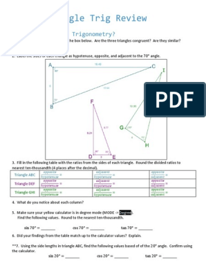 5 14 14 Right Triangle Trig Review Pdf Trigonometric Functions Sine