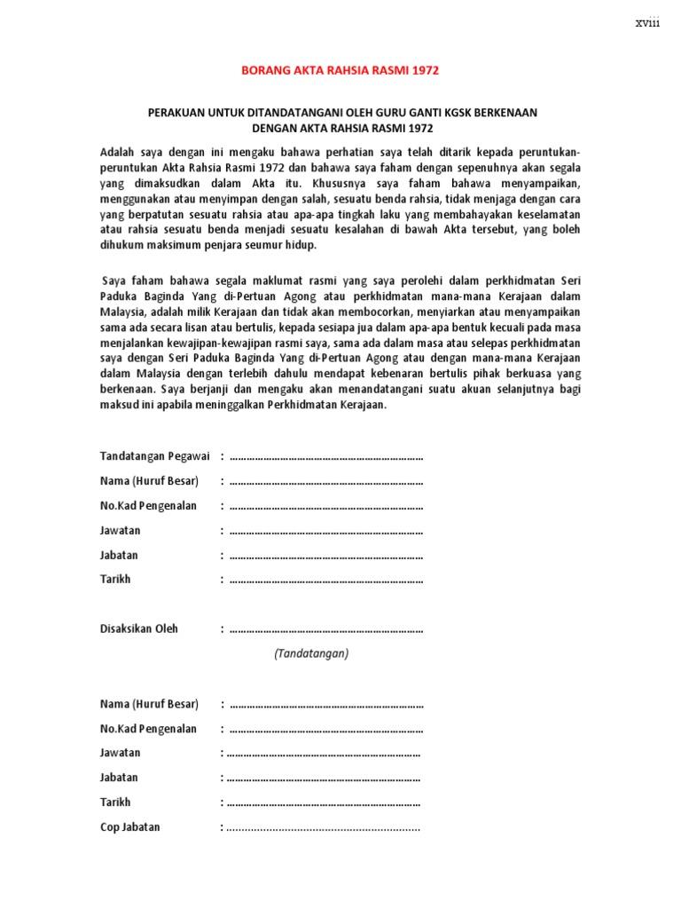 Borang Akta Rahsia Rasmi 1972 Perakuan Untuk Ditandatangani Oleh Guru Ganti Kgsk Berkenaan Dengan Akta Rahsia Rasmi 1972