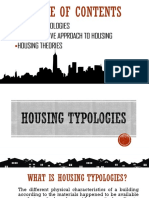 Housing Typologies, Comprehensive Approach and Theories on Housing