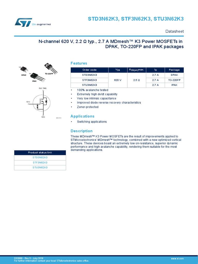 Stmicroelectronics STF3N62K3 N-Kanal Mosfet 2.7 A 620 V Mdmesh K3