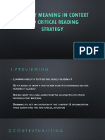 Literary Meaning in Context and Critical Reading Strategy