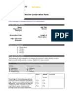 Teacher Observation Form