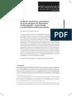 Estudo Das Características Psicométricas Da Versão Portuguesa Do Questionário de Metacognições e Do Questionário de Meta-preocupação