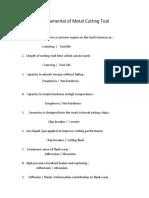 Fundamental of Metal Cutting Tool