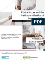 Ethical Issues and the Institutionalization of Business Ethics