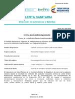 Alerta Sanitaria Numero 020-2018 - Crema de Leche Entera Pasteurizada Hacienda Isabella