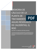 MEMORIA DE CÁLCULO DE LA PTAR DE CALDERITAS, QROO 1.docx
