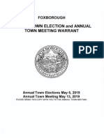 MAY 13, 2019 Annual Town Meeting Warrant
