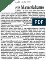 Analizan Efectos Del Arancel Aduanero - Diario El Impulso 01.06.1989