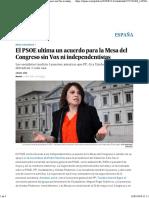 El PSOE Ultima Un Acuerdo Para La Mesa Del Congreso Sin Vox Ni Independentistas - España - EL PAÍS