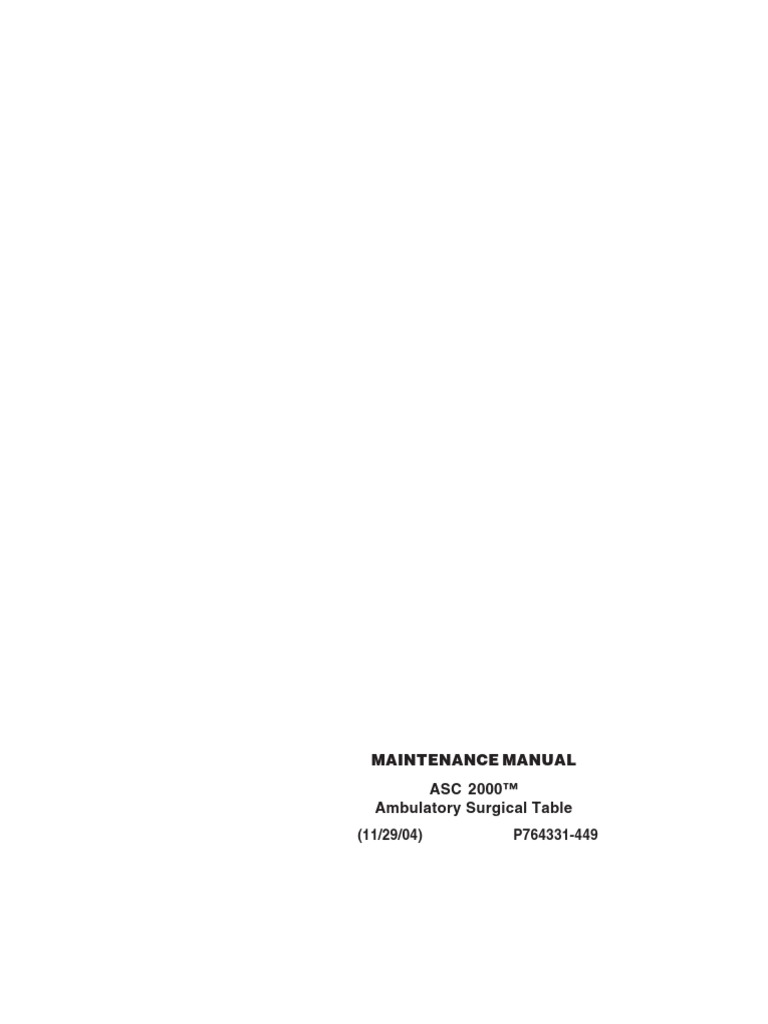 Steris ASC 2000 Surgical Table - Service manual pdf   Surgery