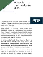 01-04-2019 Guerrero es el cuarto productor de oro en el país, celebra Astudillo.