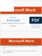 Lecture 02 (Introduction to MS Word)