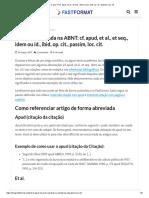 O Que É_ Cf, Apud, Et Al., Et Seq., Idem Ou Id., Ibid, Op. Cit., Passim, Loc. Cit