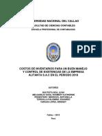 Costos de Inventarios Para Un Buen Manejo y Control de Existencias de La Empresa Alitanta s.a.c en El Periodo 2018